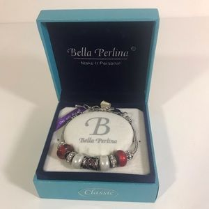 Bella Perlina Red, white & Silver bead bracelet